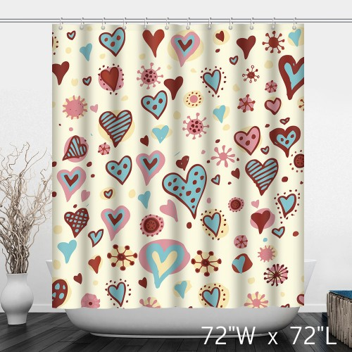 Multi-Colored Holiday Hearts Valentine Bathroom Shower Curtain