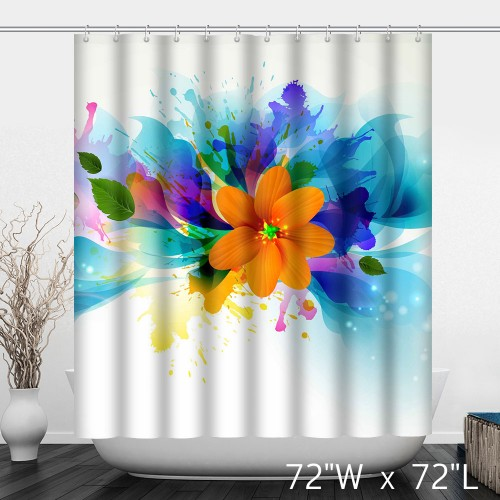 The White Dazzling Colorful Petals Orange Yellow Flowers Waterproof and beautiful Shower Curtain
