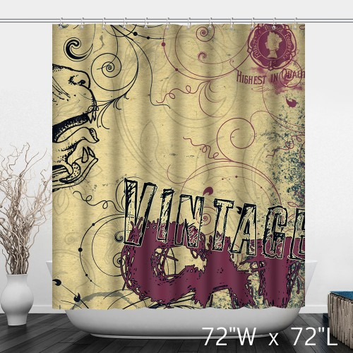 The Vintage Waterproof Fabric Shower Curtain With Personalized Patterns