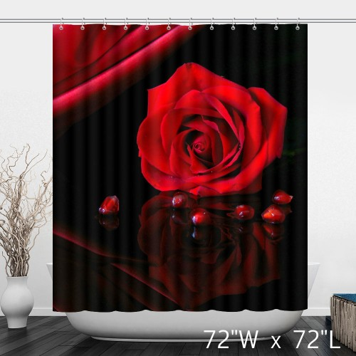 The Warm Red Rose Holiday Mood Bathroom Shower Curtain