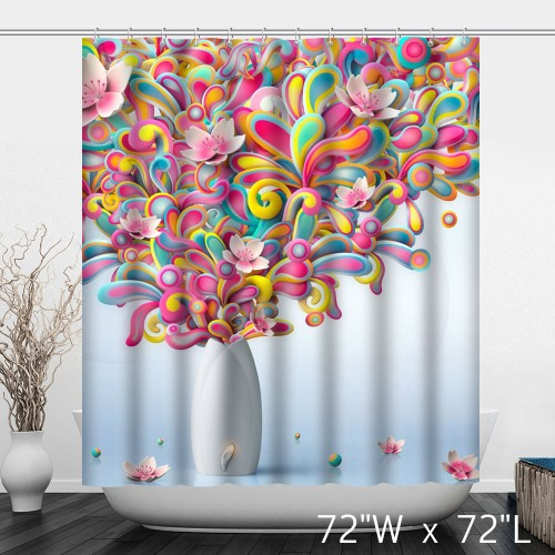 Color Minimalist Style Lotus Pattern Waterproof Shower Curtain -White Vase