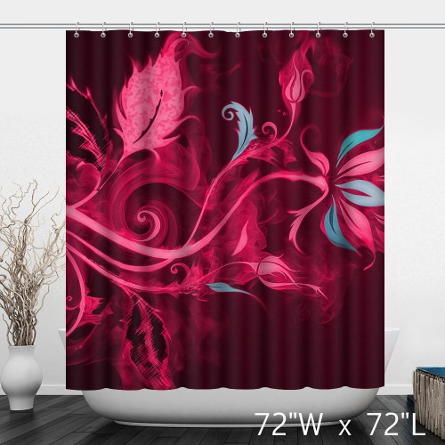 Three-dimensional Graphic Abstract Flame Flower Water-Resistant Shower Curtain - Red And Blue Dotted Home Warm