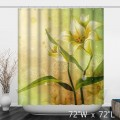 Warm Lily Flower Green Bathroom Shower Curtain