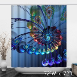 Peacock Opens Spiral Shape Three-Dimensional Waterproof Shower Curtain - Blue And Gradient