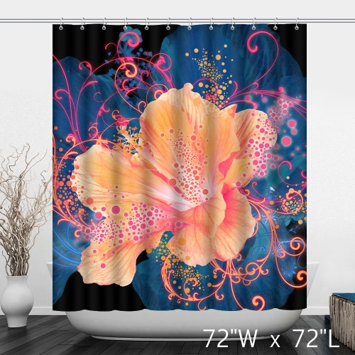 Blue Background Silk Dotted Big Flowers Fashion Shower Curtain Decoration Home Sunshine Gorgeous