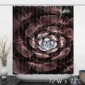 Stylish Art Abstract Big Flower Shower Curtain- Transparent Brown Water-resistant and Durable