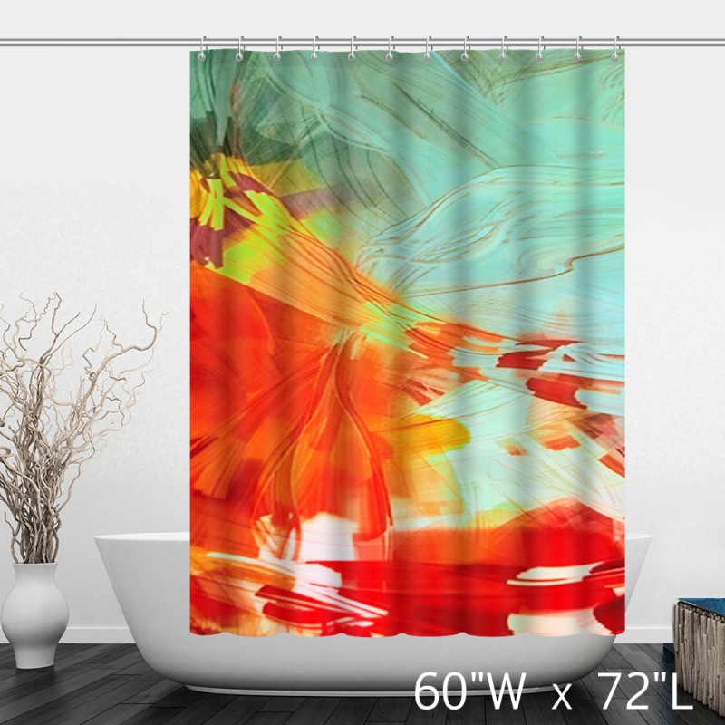 Wavy Patterns Art Colorful Waterproof Shower Curtain - Red Blue ...