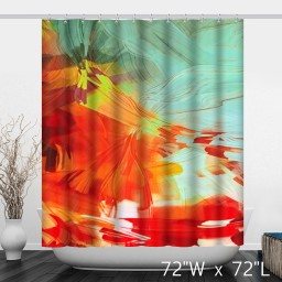 Wavy Patterns Art Colorful Waterproof Shower Curtain - Red Blue