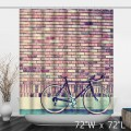 Antique Vintage Bicycle Brick Wall Shower Curtain - Rustic Nostalgia