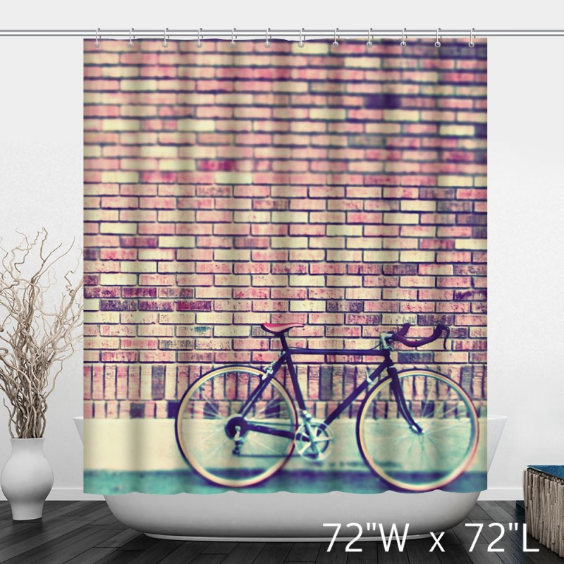 Antique Vintage Bicycle Brick Wall Shower Curtain