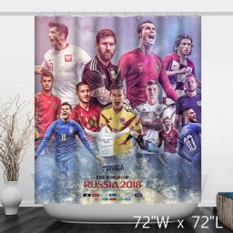 Russia 2018 FIFA World Cup Famous Football Player Bathroom Shower Curtain
