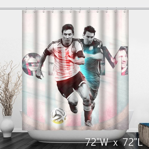 Lionel Messi Argentina Footerball Player Bathroom Shower Curtain