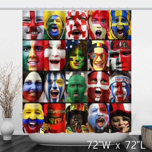 World Cup Football Fans National Print Shower Curtain