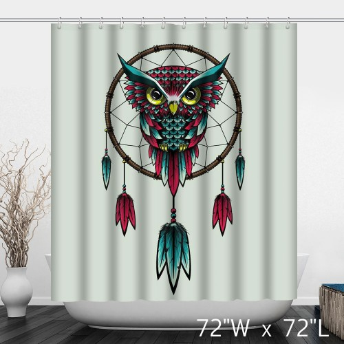 Cute Owl Pendant Bathroom Waterproof Shower Curtain