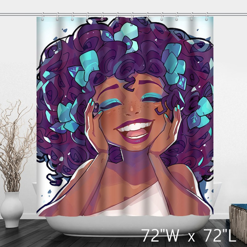Laughing Afircan Girl Bathroom Shower Curtain