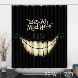 Black Smile Mouth Tooth Bathroom Shower Curtain