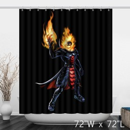 Ghost Rider with Fire Bathroom Shower Curtain