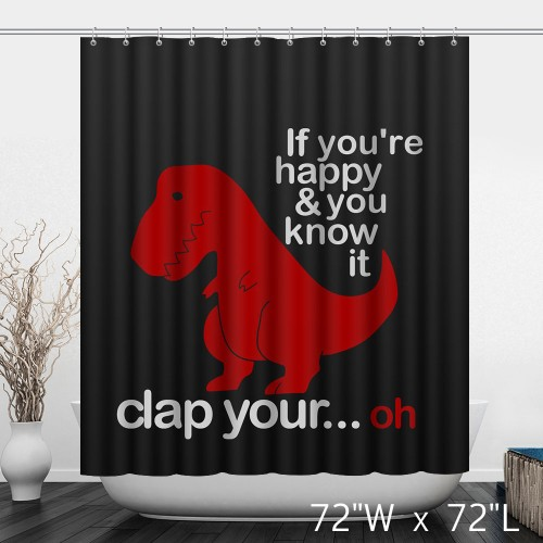 Happy Red Dinosaur Bathroom Shower Curtain