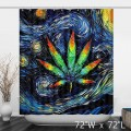Hemp Leaf Starry Night Oil Paiting Bathroom Shower Curtain