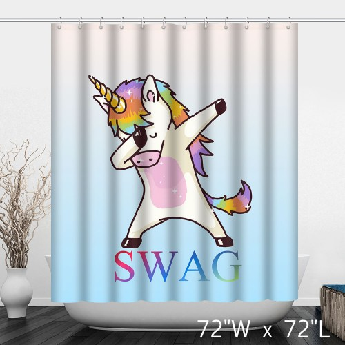 Funny Colorful Unicorn SWAG Bathroom Shower Curtain