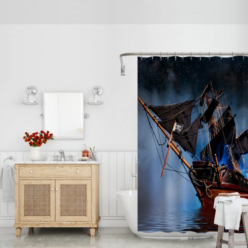 Retro Pirate Ship Shower Curtain Liner Polyester Fabric Bathroom Set Accessories