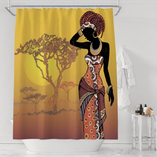 African Woman Shower Curtain Sunset Tree Water Repellent Fabric Bath Curtains Brown Black