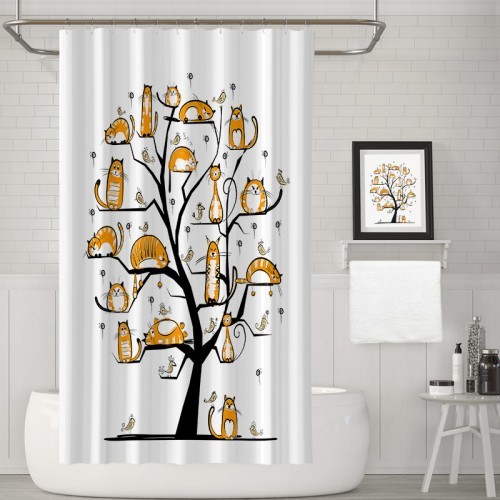 Cat Lover Decor Collection Crowd Fluffy Nature Purebred Creative Humorous Bathroom Shower Curtain