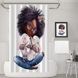 African American Lady Shower Curtain Holding a rabbit Waterproof Fabric