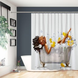 Afro Lady Shower Curtain African American Sexy Black Woman Lying on The Bathtub with Yellow Ducks