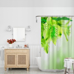 Green Shower Curtain Fresh Lily Flower Bloom with Leaves Abstract Bokeh Backdrop Garden Plant