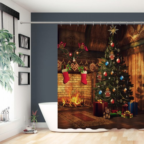 Vintage Fireplace Fireflame Red Stockings Shabby House Background Xmas Shower Curtains