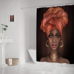 African American Pretty Girl Raster Black Woman Glossy Lips Turban Shower Curtain
