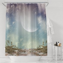 Nature Shower Curtain Waterproof Polyester with Hook