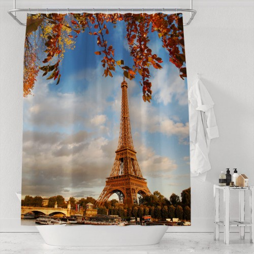 Eiffel Tower with autumn leaves in Paris Polyester Fabric Shower Curtain