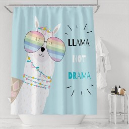 Hand Drawn Cute Wearing Rainbow Glasses Shower Curtain Set Simple Abstract Animal Art Painting with Letter Llama