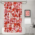 Asian Hobby Crafts Red Hearts Design Polyester Bathroom Curtains