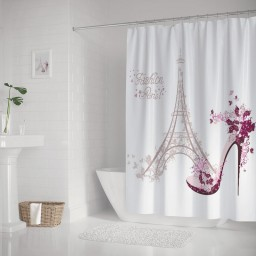 Pink High Heeled Shoes of The Eiffel Tower Paris Bathroom Shower Curtain