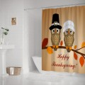 HAPPY THANKSGIVING FUNNY OWL ART FABRIC SHOWER CURTAIN