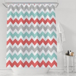 Gray Red And Blue Chevron Bathroom Waterproof Polyester Shower Curtain