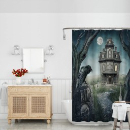 Fabric Haunted House And Spooky Graveyard Decor Washable Shower Curtain