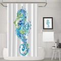 Seahorse Design with Abstract Curvy and Wavy Geometric Forms Fabric Bathroom Set with Hooks
