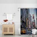 Yellow Cabs Times Square New York Polyester Bathroom Shower Curtain Set with Hooks