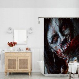 Scary Dead Woman with Bloody Axe Evil Fantasy Gothic Mystery Halloween Picture Fabric Bathroom Decor