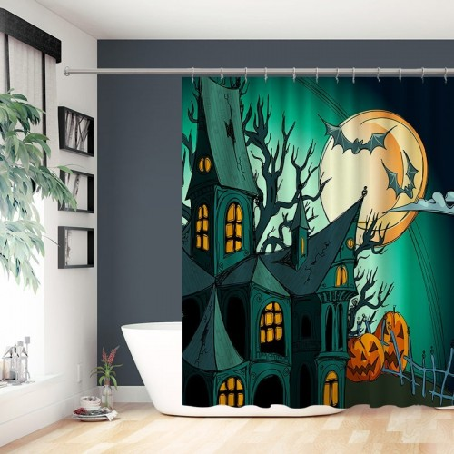 Teal Halloween Haunted Castle Single Shower Curtain