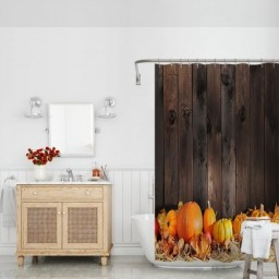 Thanksgiving Themed Pumpkins Many Shapes and Sizes in Hay Wooden Board Background Fabric Bathroom Decor Set with Hooks