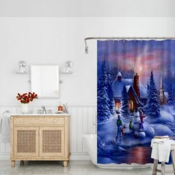 The Little Gnome White Christmas Bianco Natale Polyester Shower Curtain