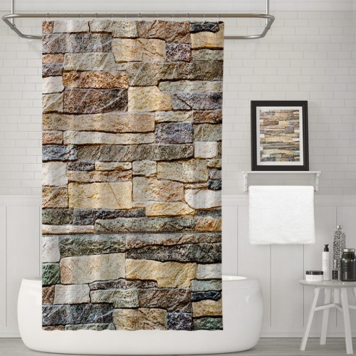 Brick Wall Shower Curtains Marble Stone Wall Decor Waterproof Bathroom Decor