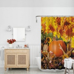 Happy Thanksgiving Day Pumpkin Sunflowers Autumn Leaves Polyester Fabric Waterproof Bath Curtain