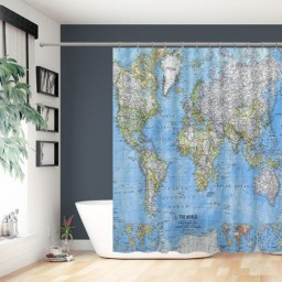 The World Map Polyester Fabric Waterproof Shower Curtain