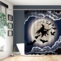 Halloween Night Theme Black and White Flying Witch and Full Moon Waterproof Shower Curtains Premium Fabric Bathroom Liner